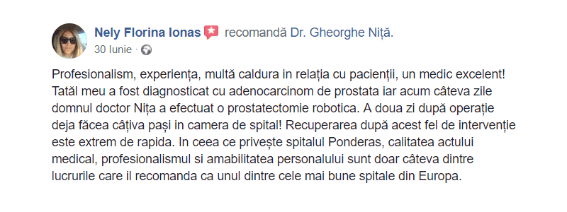 recenzie prostatectomie robotica